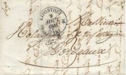 1841 - Lettre De LIPOSTHEY ( Landes ) Cad T12  Pour Bordeaux - Poststempel (Briefe)