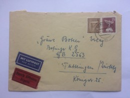 GERMANY Berlin 1960 Air Mail Express Cover Berlin To Tuttlingen With Stuttgart -Tuttlingen Bahnpost Mark To Rear - [5] Berlin