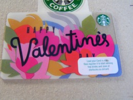 Starbucks New PIN Covered United Kingdom  Card  6147  Happy Valentines Day - Gift Cards