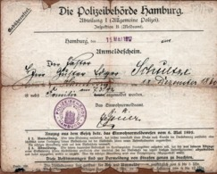Die Polizeibehörde Abteilung I - Allgemeine Polizei Anmeldeschein Gebührenfrei 1917 - Cachets Généralité
