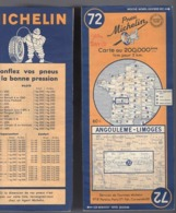 Carte Géographique MICHELIN - N° 072 - ANGOULÊME - LIMOGES 1948-2 - Wegenkaarten