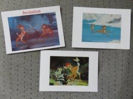 2 Cartes Postales Disney + Invitation' Bambi - Disney