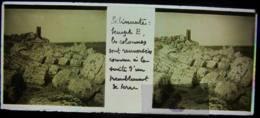 SELINUNTE, 1898, Sicile : Colonnes Renversées Du Temple E. Selinonte. Plaque De Verre Stéréoscopique, Positif. - Glasdias