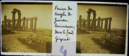 AGRIGENTE, 1898, Sicile : Ruines Du Temple De Junon, Au Fond Girgenti. Plaque Verre Stéréoscopique, Positif. - Glasdias