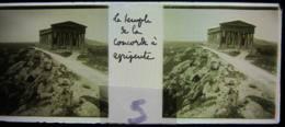 AGRIGENTE, 1898, Sicile : Le Temple De La Concorde. Plaque Verre Stéréoscopique, Positif. - Glasdias