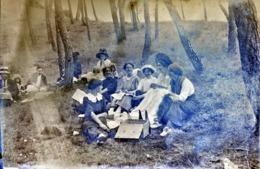 Très Rare Photo Sur Plaque De Verre  10 X 15  Cm  Pic-nique Champêtre  1900-1910 - Glasdias