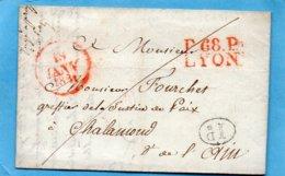 P. 68 P. LYON,rouge,24,5X12mm,L.A.C. De LA GUILLOTIERE Le 18/1/31.pour CHALAMOND - Poststempel (Briefe)
