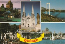 Quebec, 5 Vues Du Ville Chateau Frontenac Les Ponts Pierre Laporte Et Quebec  Le Saint-Laurent  Le Monument De La Foi - Québec - La Cité
