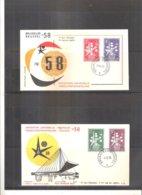 Expo 58 - 2 FDC Belgique - Série Complète (à Voir) - 1958 – Brussels (Belgium)