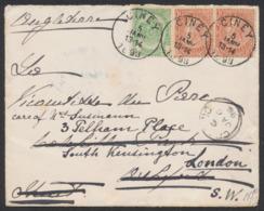 """Fine Barbe - N°56 + 57 X2 SBD Sur Lettre Obl Simple Cercle """"Ciney"""" (1893) Vers Oxford Biffé Et Remplacé Par Londres. - 1893-1900 Schmaler Bart"""