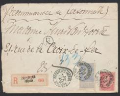 """Fine Barbe - N°58 Et 60 Sur Lettre En Recommandé De """"Bruxells (Nord) / Valeurs"""" Vers La Ville / Verso à Voir ! - 1893-1900 Schmaler Bart"""