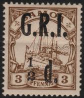 ~~~ Deutsche Kolonien Samoa GRI 1914 - Kaiseryacht - Mi. 1 ** MNH - CV 45 Euro - Kleine Originale Gummifalte ~~~ - Colony: Samoa