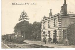 BONNEMAIN. La Gare. Départ D'un Train. - Autres Communes
