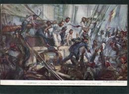 """CPA - Illustration Fouqueray - A L'ABORDAGE - L'Aviso Le """"Nordcaper"""" Enlève Une Goëlette Turque (Nov. 1915) - Guerra"""