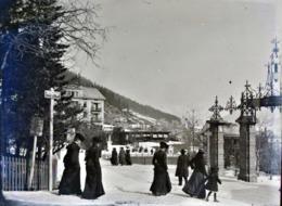 Très Rare Photo Sur Plaque De Verre  12 X 9 Cm Promenade Dans Davos  Suisse 1900-1910 - Glasdias