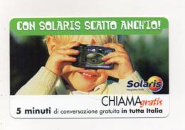 """Scheda Telefonica """" Chiama Gratis """"  Solaris - 5 Minuti - Nuova - Scadenza 15.11.2001 - (FDC17544) - Italien"""