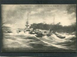 CPA - CHERBOURG - Cuirassé Type République Par Grosse Mer - Krieg