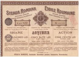 România. Acțiune 500 Lei. Steaua Romana. Societate Anonimă Pentru Industria Petroleului. 1942. + 9 Cupoane. - Mijnen
