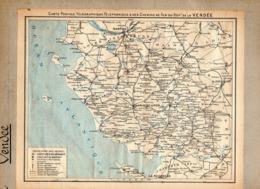 2 Cartes Télégraphique Téléphonique & Des Chemins Fer Dept 85 VENDEE 84 Vaucluse Année1936 Collée Recto Verso - Europe
