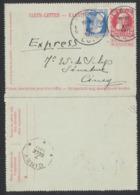 EP Au Type Carte Lettre 10ctm Rouge Grosse Barbe En Expres + N°76 De Liège / Luik (1911) Vers Ciney - Cartes-lettres