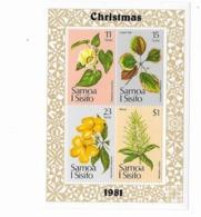 Samoa Bloc Feuillet  N° 26** Noël Fleurs Christmas 1981 - Samoa