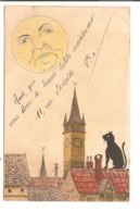 CHATS - Chat Sur Les Toit, Regardant La Lune. - Illustrateur: Alfred. - Chats