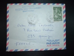 LETTRE Pour La FRANCE TP KAIROUAN 40m OBL.31-5 1969 HAMMAMET + + Griffe RECEPTION HOTEL LES ORANGERS - Tunisia (1956-...)