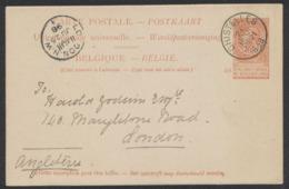 """EP Au Type 10ctm Orange Fine Barbe Obl Simple Cercle """"Ghistelles"""" (1898) Vers London. - Postales [1871-09]"""