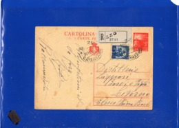 ##(DAN1910)-20-11-1946-Cartolina Postale Democratica L.3 Raccomandata Da Pizzo (Catanzaro) A Livorno - 6. 1946-.. Repubblica