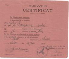 WW2  AUSWEIS  LAISSER PASSER   De CHOLET à PARIS  17 Juillet 1940 - Documents Historiques