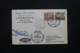 LUXEMBOURG - Enveloppe 1er Vol Luxembourg / Munich / Salzburg En 1957 , Affranchissement Plaisant - L 43813 - Lussemburgo