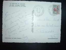 CP TP COQ DE DECARIS 0,30 OBL.15-9 1966 IRVILLAC NORD FINISTERE (29) - Cachets Manuels