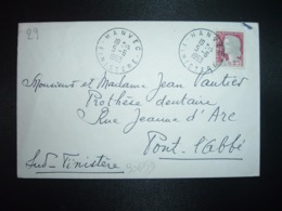 LETTRE  TP M.DE DE DECARIS 0,25 OBL.5-6 1963 HANVEC FINISTERE (29) - Cachets Manuels