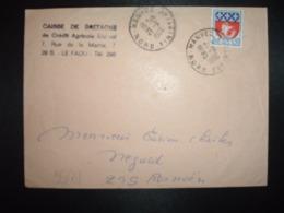 LETTRE  TP BLASON PARIS 0,30 OBL.21-9 1966 HANVEC NORD FINISTERE (29) CAISSE DE BRETAGNE DE CREDIT AGGRICOLE MUTUEL - Cachets Manuels