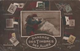 *** MILITARIA *** PATRIOTIQUE --- Langage Des Timbres Des Alliés Petit Pli  Et Dos Sale - Guerre 1914-18