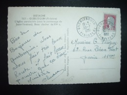 CP TP M.DE DECARIS 0,25 OBL.30-7 1962 GUERLESQUIN FINISTERE (29) - Cachets Manuels