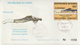 Niger.1977 . FDC  Fossile. Crâne De Crocodilien. - Fossils