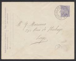 "EP Au Type Env. 15ctm Lilas Obl Simple Cercle ""Conférence Diplomatique De SPA"" (1920) Vers Liège. - Stamped Stationery"