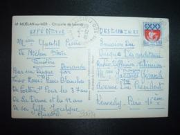 CP TP BLASON PARIS 0,30 OBL.15-2 1965 MOELAN S/MER SUD FINISTERE (29) - Cachets Manuels
