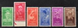 Y804 - INDIA 1952 , Yvert Serie N. 37/42  ***  MNH  (2380A). SANTI POETI - Nuovi