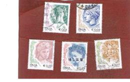 ITALIA REPUBBLICA  -  2002 DONNE NELL' ARTE 5 VALORI IN EURO       - USATO ° - 6. 1946-.. Repubblica