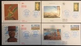 France - FDC - Premier Jour - Lot De 4 FDC - Thématique UNESCO - 1998 - 1990-1999