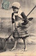 Thematiques 35 Ille Et Vilaine De St Malo à Paramé Fillette Pêcheuse De Cervettes Timbré Cachet - Saint Malo