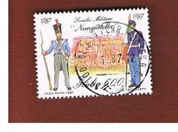 ITALIA REPUBBLICA  - SASS. 1820    -      1987     SCUOLA MILITARE NUNZIATELLA     -      USATO - 6. 1946-.. República