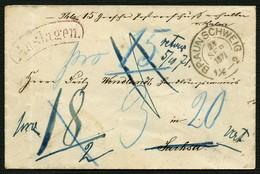 BRAUNSCHWEIG 1871, POSTBEGLEITBRIEF NACH SACHSA MIT RETOURVERMERK, SELTEN! - Braunschweig