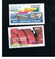 ITALIA REPUBBLICA  - SASS. 1777.1778    1986  LAVORO ITALIANO: OLIVETTI, BREDA   -      USATO - 6. 1946-.. Repubblica
