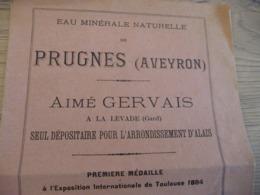Pub Publicité 2 Volets Prugnes Aveyron Eau Minérale Naturelle Aimé Gervais La Levade Gard - Publicités