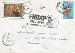 Madagascar 1989 Diego-Suarez Flemish Painter United Nations Population Fund (FNUAP) Handstamp Cover - Madagascar (1960-...)