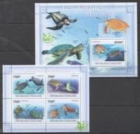 TG1079 2011 TOGO TOGOLAISE FAUNA FISH & MARINE LIFE TURTLES LES TORTUES 1KB+1BL MNH - Tortugas