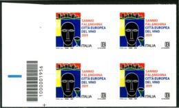 ITALIA / ITALY 2019** - Sannio Falanghina, Citta' Europea Del Vino - Quartina MNH, Autoadesiva Con Codice A Barre. - Vini E Alcolici